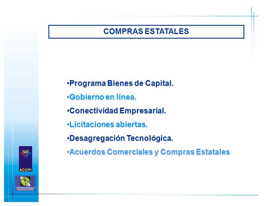 COMPRAS ESTATALES Programa Bienes de Capital. Gobierno en línea. Conectividad Empresarial. Licitaciones abiertas.