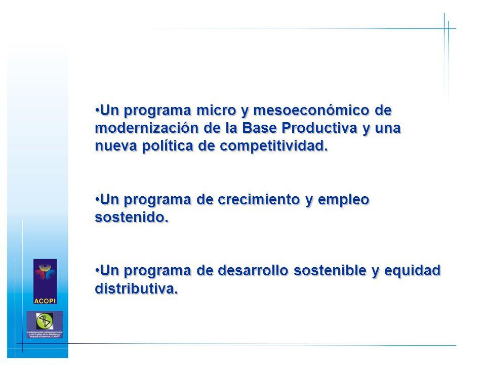 Un programa micro y mesoeconómico de modernización de la Base Productiva y una nueva política de competitividad.