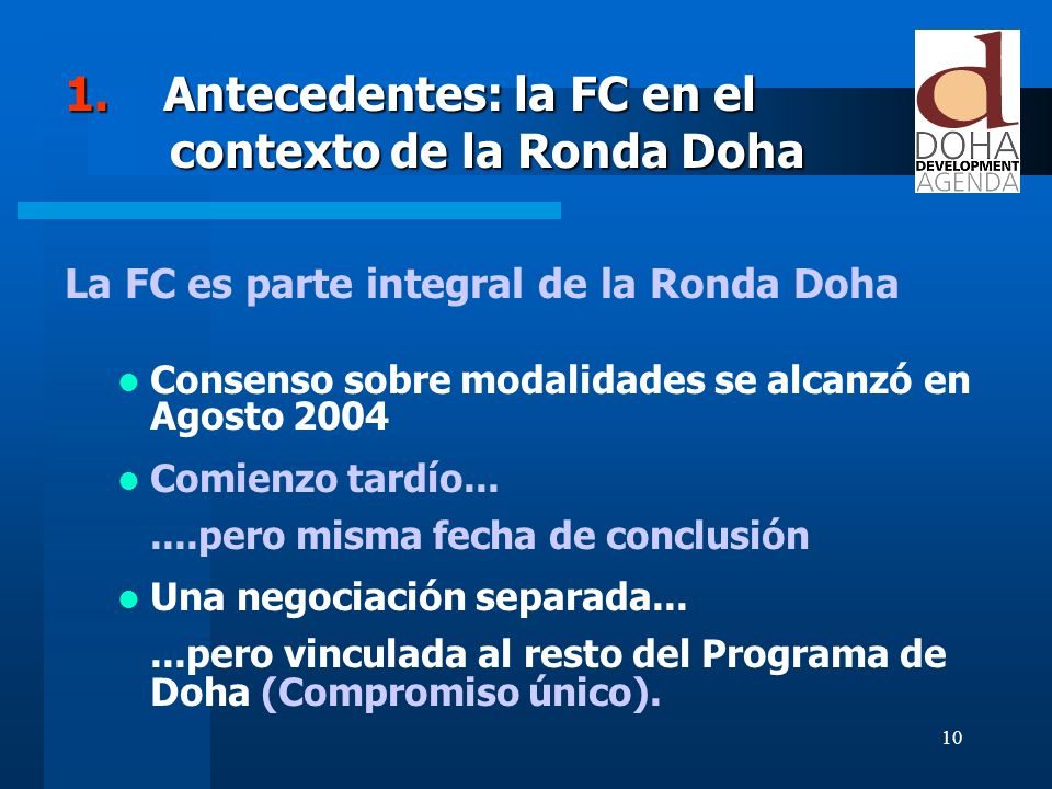 1. Antecedentes: la FC en el contexto de la Ronda Doha
