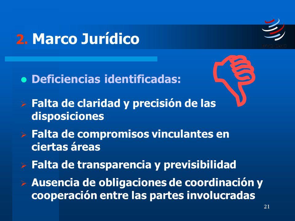  2. Marco Jurídico Deficiencias identificadas: