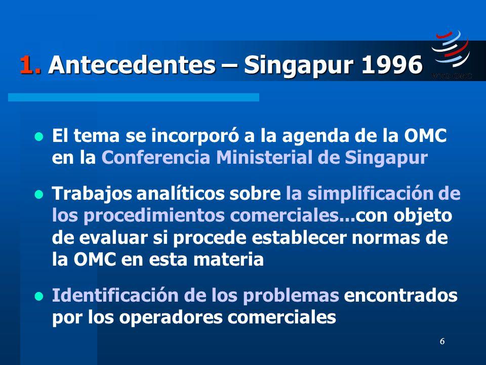 1. Antecedentes – Singapur 1996