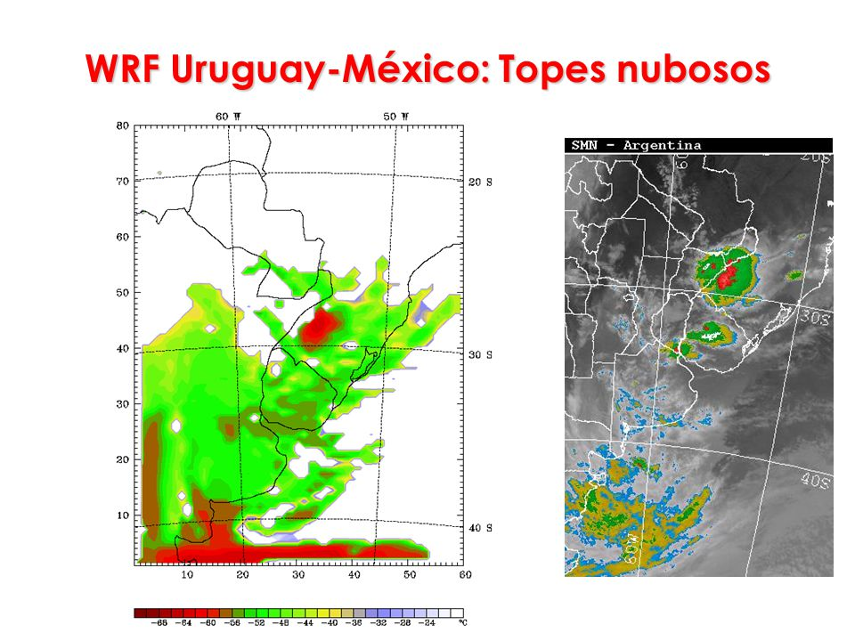 WRF Uruguay-México: Topes nubosos
