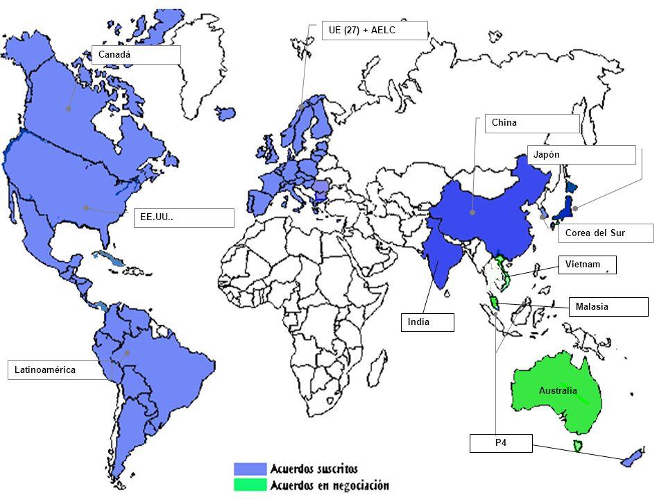 UE (27) + AELC Canadá. China. Japón. EE.UU.. Corea del Sur. Vietnam. Malasia. India. Latinoamérica.
