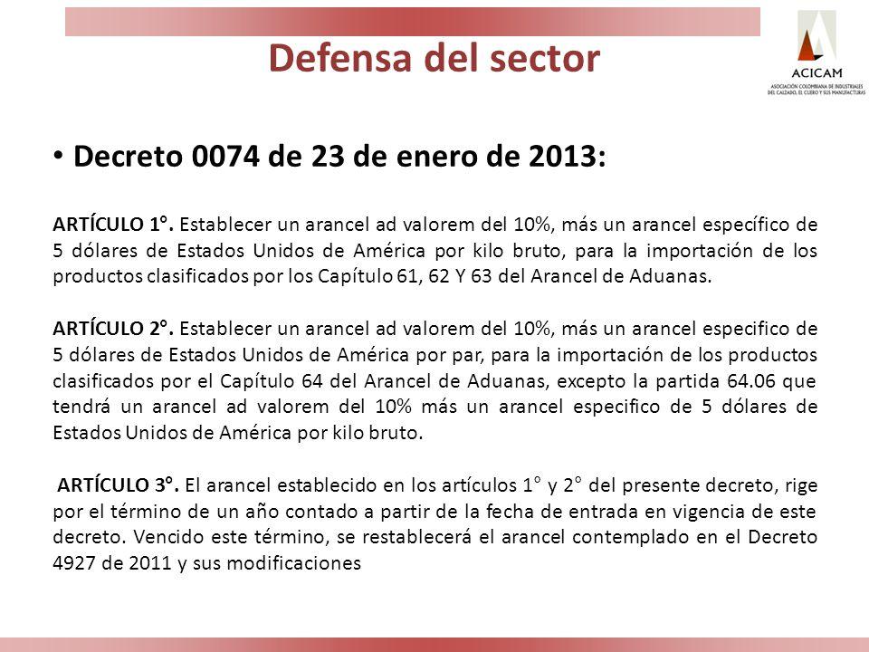 Defensa del sector Decreto 0074 de 23 de enero de 2013: