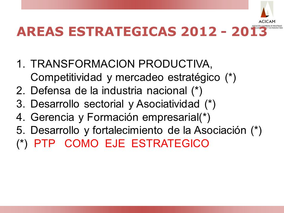 AREAS ESTRATEGICAS 2012 - 2013 TRANSFORMACION PRODUCTIVA, Competitividad y mercadeo estratégico (*)