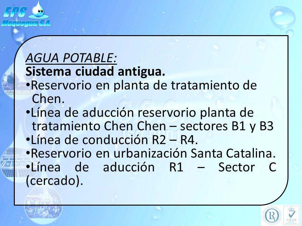 AGUA POTABLE: Sistema ciudad antigua. Reservorio en planta de tratamiento de. Chen. Línea de aducción reservorio planta de.