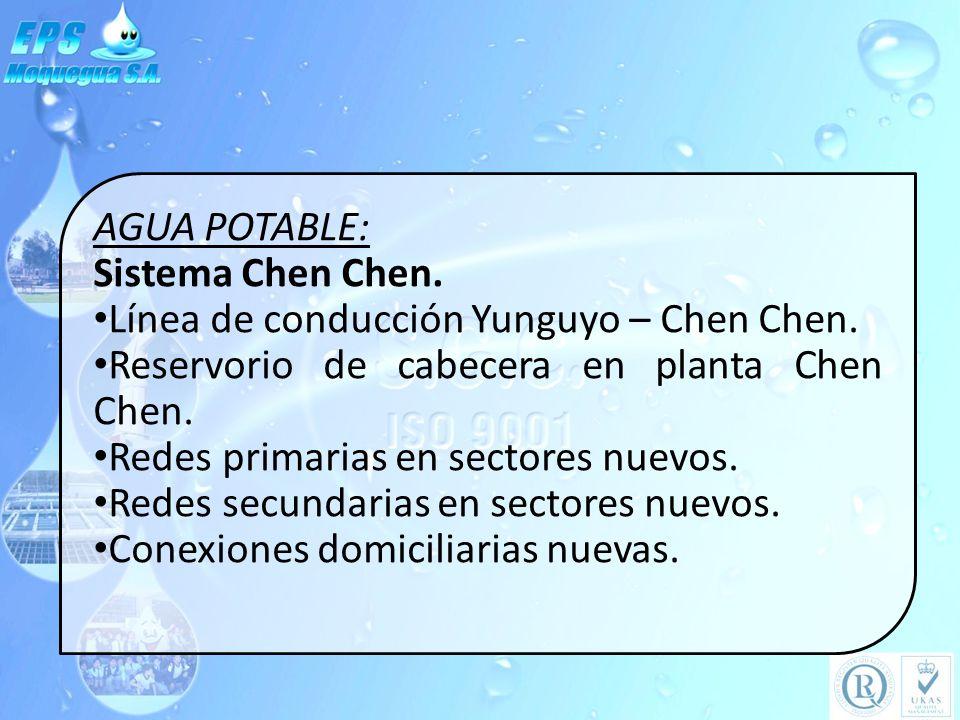 AGUA POTABLE: Sistema Chen Chen. Línea de conducción Yunguyo – Chen Chen. Reservorio de cabecera en planta Chen Chen.