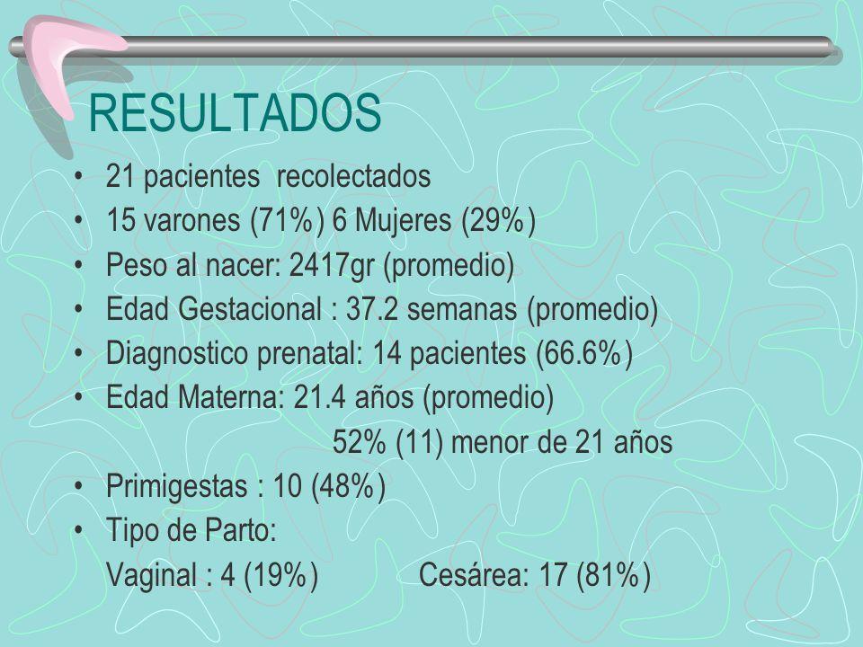 RESULTADOS 21 pacientes recolectados 15 varones (71%) 6 Mujeres (29%)