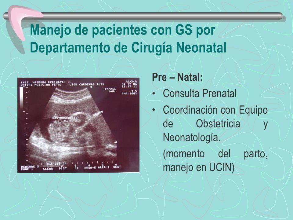 Manejo de pacientes con GS por Departamento de Cirugía Neonatal