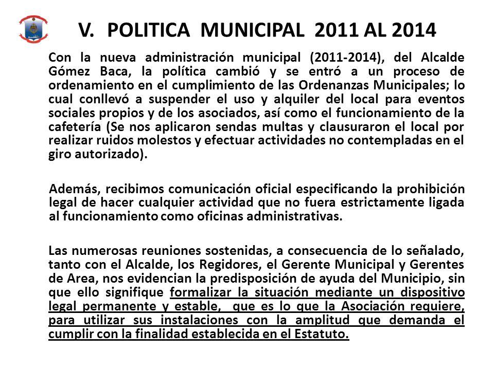 V. POLITICA MUNICIPAL 2011 AL 2014