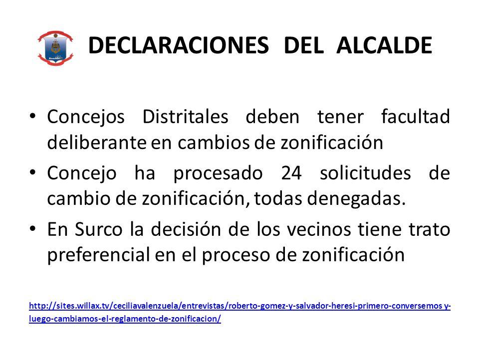DECLARACIONES DEL ALCALDE