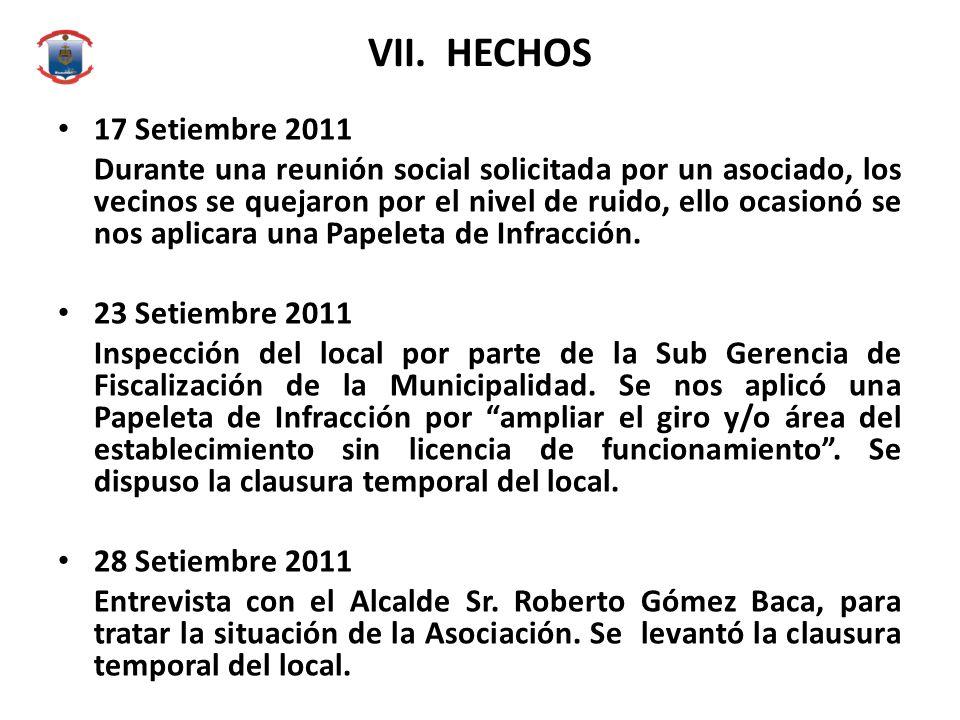 VII. HECHOS 17 Setiembre 2011.