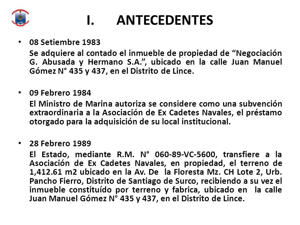 I. ANTECEDENTES 08 Setiembre 1983