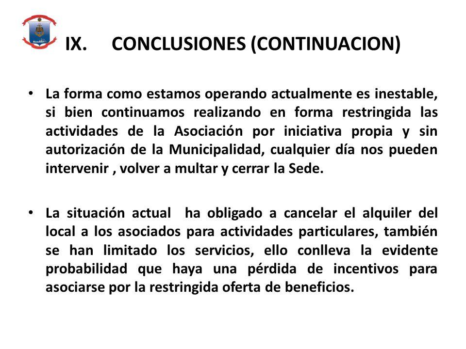 IX. CONCLUSIONES (CONTINUACION)