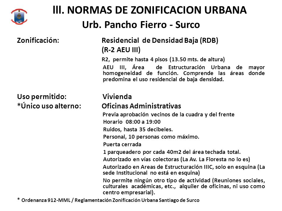 lll. NORMAS DE ZONIFICACION URBANA Urb. Pancho Fierro - Surco