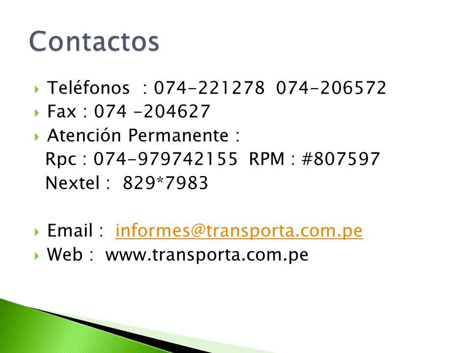 Contactos Teléfonos : 074-221278 074-206572 Fax : 074 -204627
