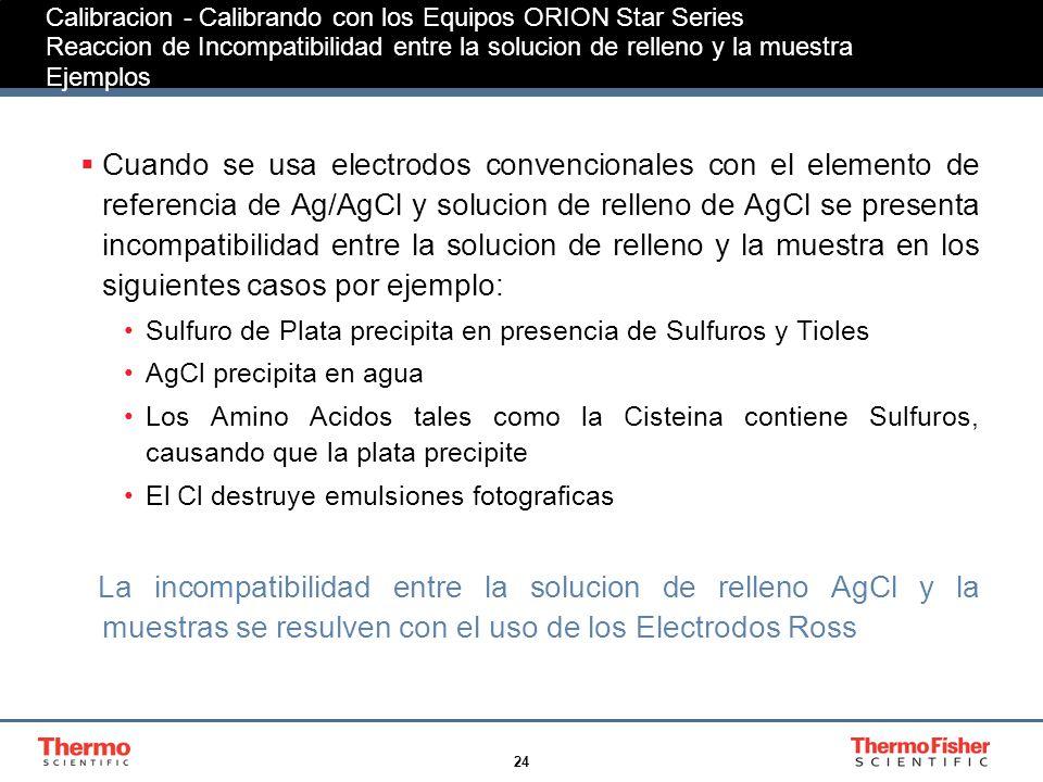Calibracion - Calibrando con los Equipos ORION Star Series Reaccion de Incompatibilidad entre la solucion de relleno y la muestra Ejemplos