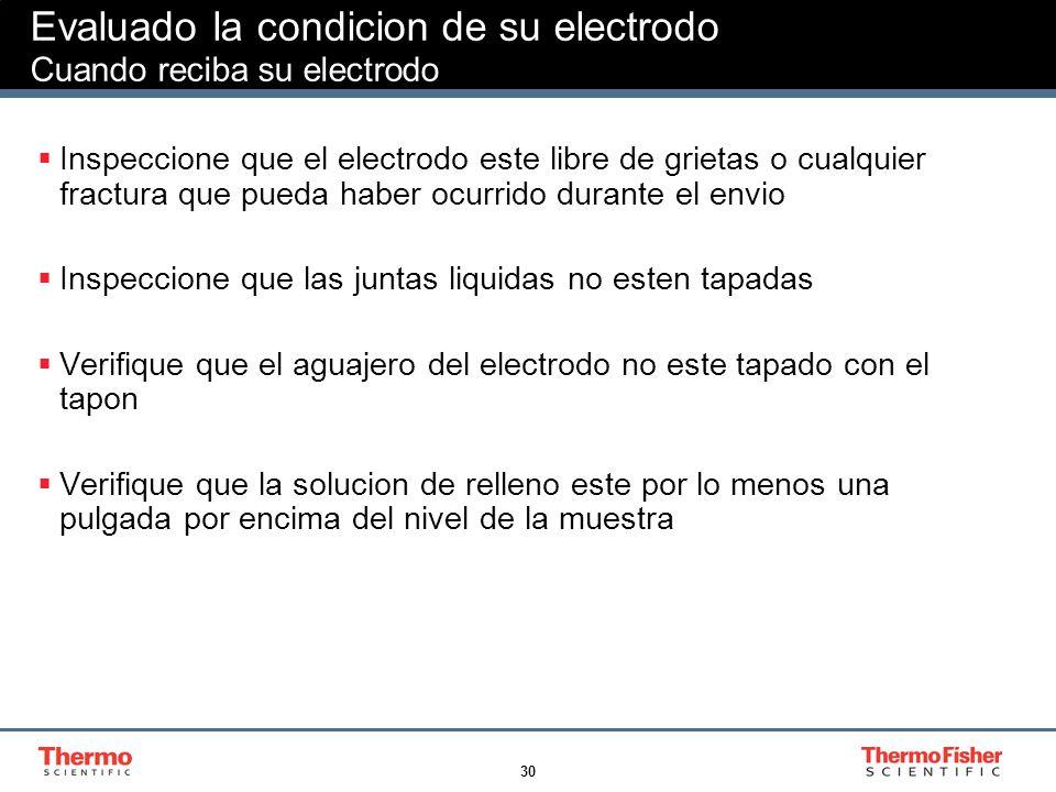 Evaluado la condicion de su electrodo Cuando reciba su electrodo