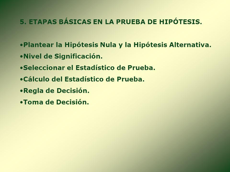 5. ETAPAS BÁSICAS EN LA PRUEBA DE HIPÓTESIS.