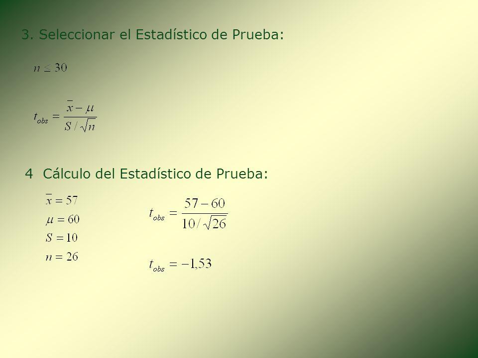 3. Seleccionar el Estadístico de Prueba: