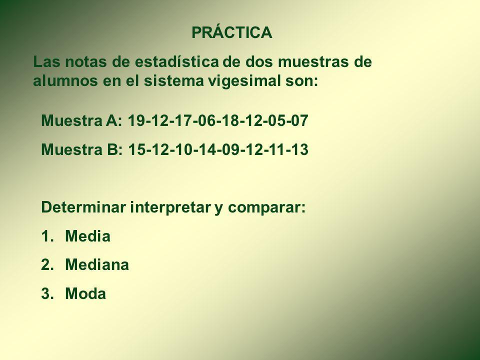 PRÁCTICA Las notas de estadística de dos muestras de alumnos en el sistema vigesimal son: Muestra A: 19-12-17-06-18-12-05-07.