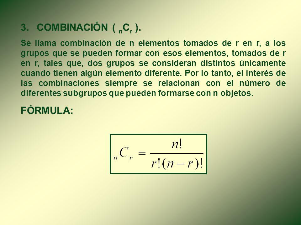 3. COMBINACIÓN ( nCr ). FÓRMULA: