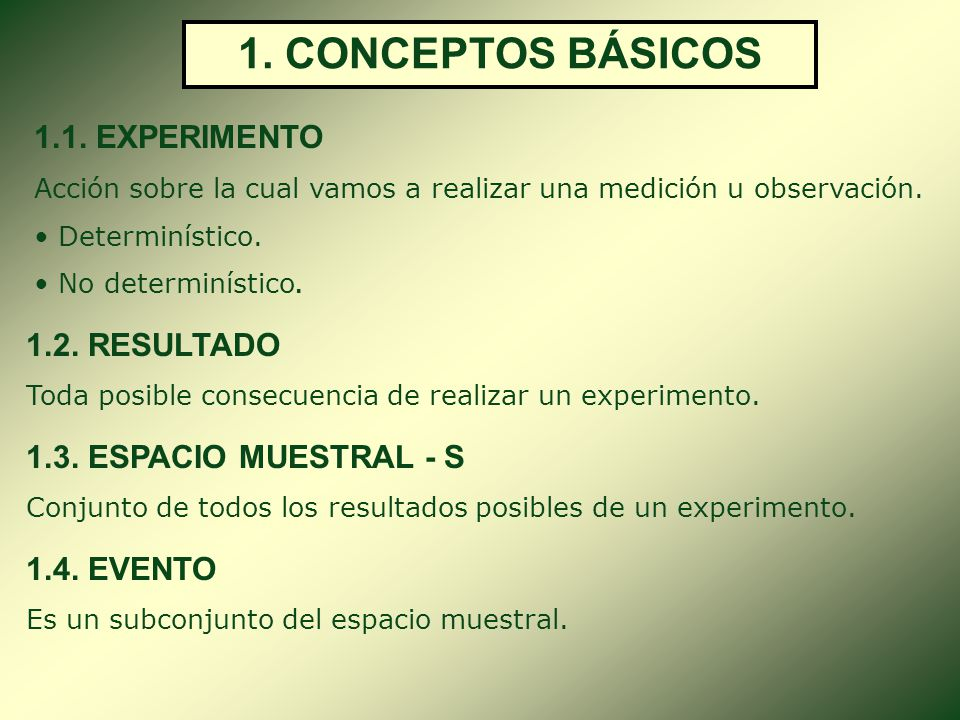 1. CONCEPTOS BÁSICOS 1.1. EXPERIMENTO 1.2. RESULTADO