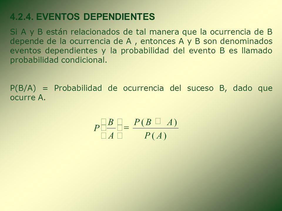 4.2.4. EVENTOS DEPENDIENTES ) ( A P B Ç = ÷ ø ö ç è æ