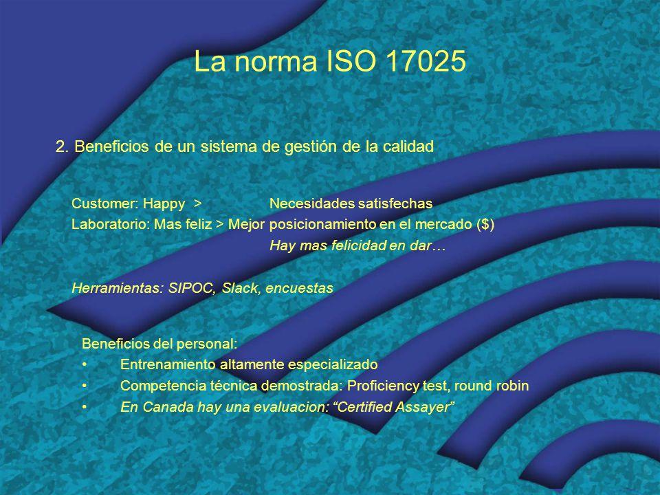 La norma ISO 17025 2. Beneficios de un sistema de gestión de la calidad. Customer: Happy > Necesidades satisfechas.