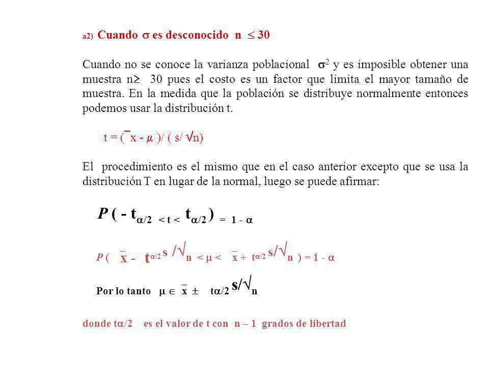 P ( x - t/2 s /n <  < x + t/2 s/n ) = 1 - 