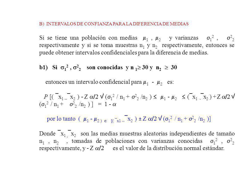 b1) Si 12 , 22 son conocidas y n 1 30 y n2  30