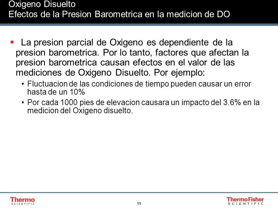 Oxigeno Disuelto Efectos de la Presion Barometrica en la medicion de DO