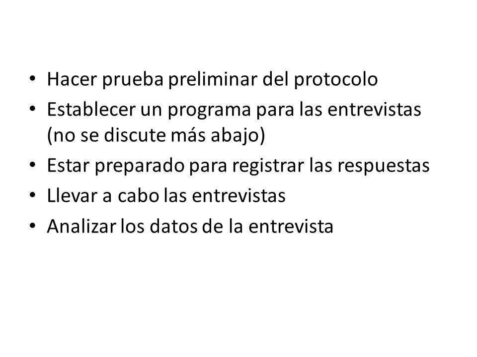 Hacer prueba preliminar del protocolo