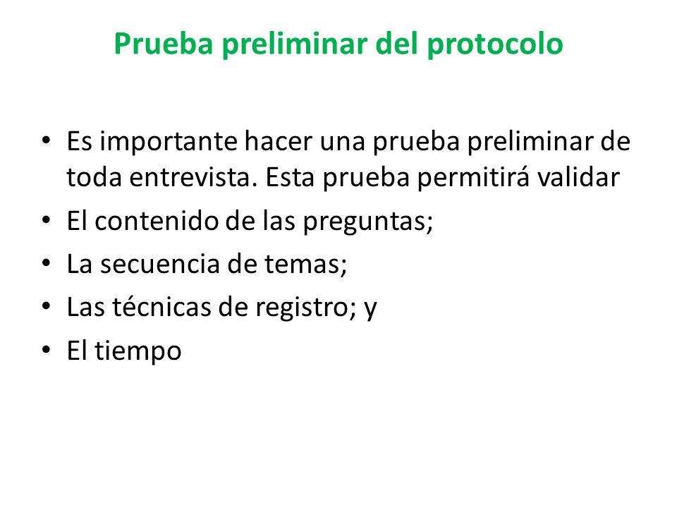 Prueba preliminar del protocolo