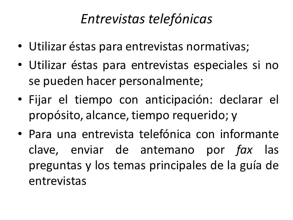 Entrevistas telefónicas