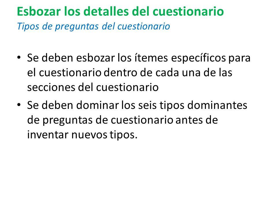 Esbozar los detalles del cuestionario Tipos de preguntas del cuestionario