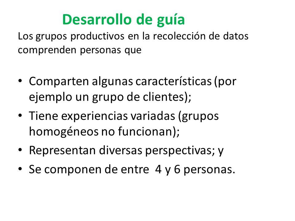 Desarrollo de guía Los grupos productivos en la recolección de datos comprenden personas que