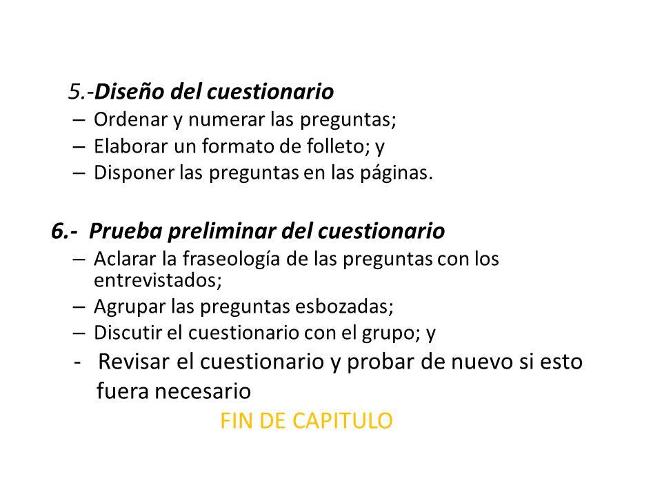 5.-Diseño del cuestionario