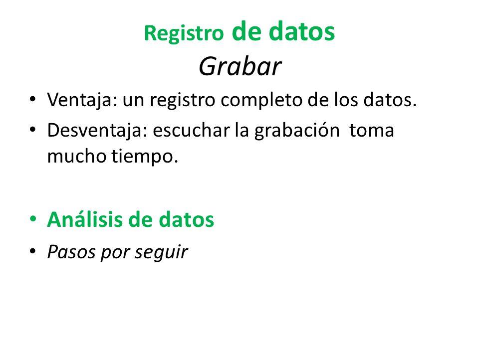 Registro de datos Grabar