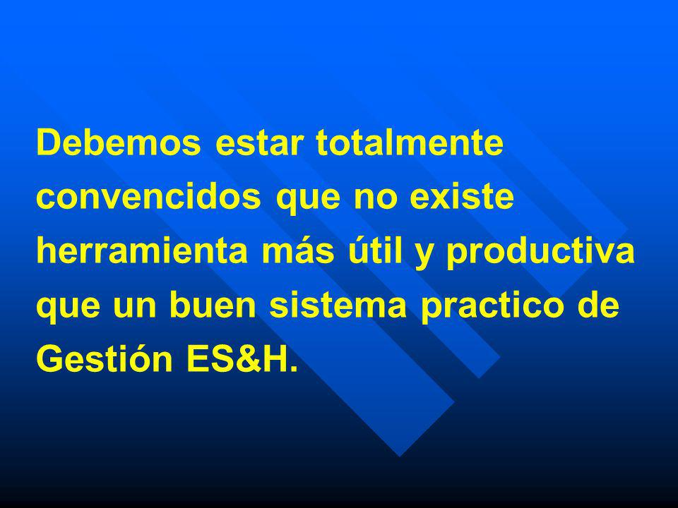 Debemos estar totalmente convencidos que no existe herramienta más útil y productiva que un buen sistema practico de Gestión ES&H.