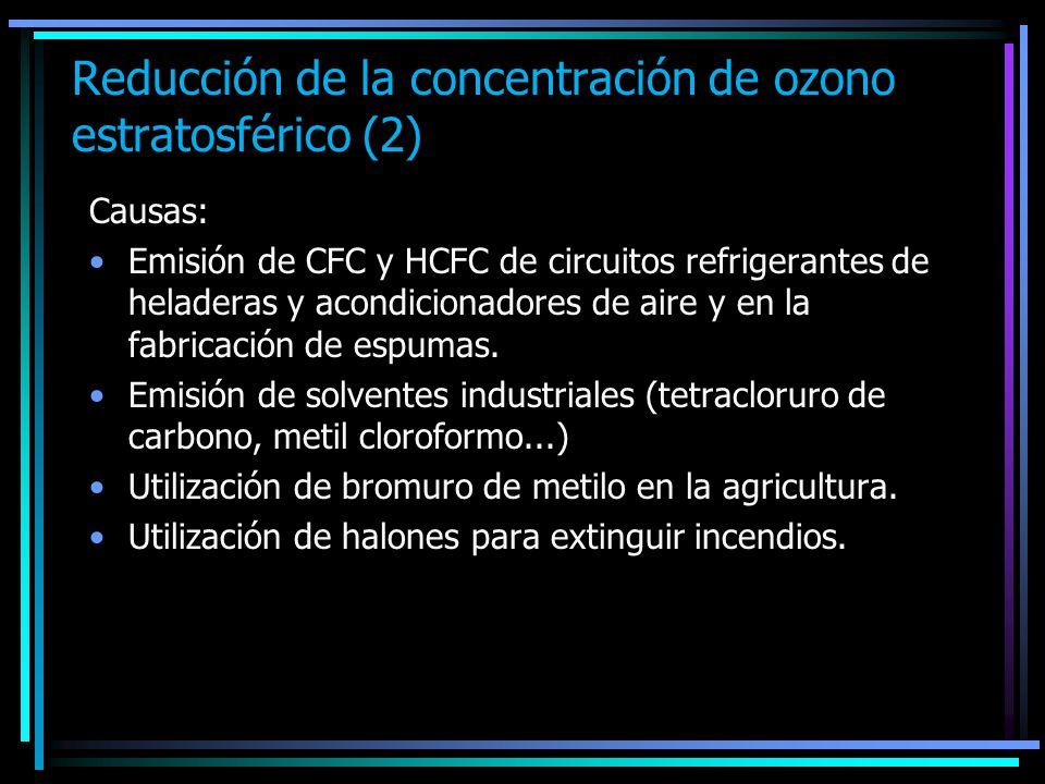 Reducción de la concentración de ozono estratosférico (2)