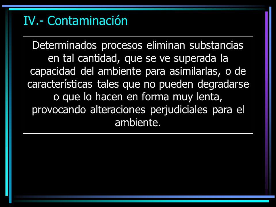 IV.- Contaminación