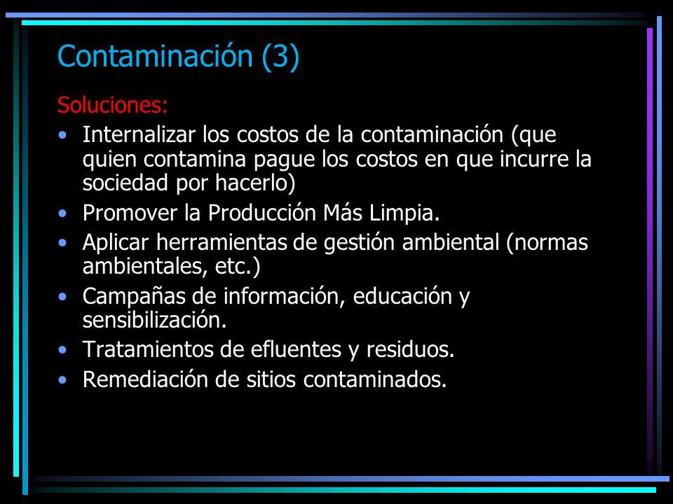 Contaminación (3) Soluciones: