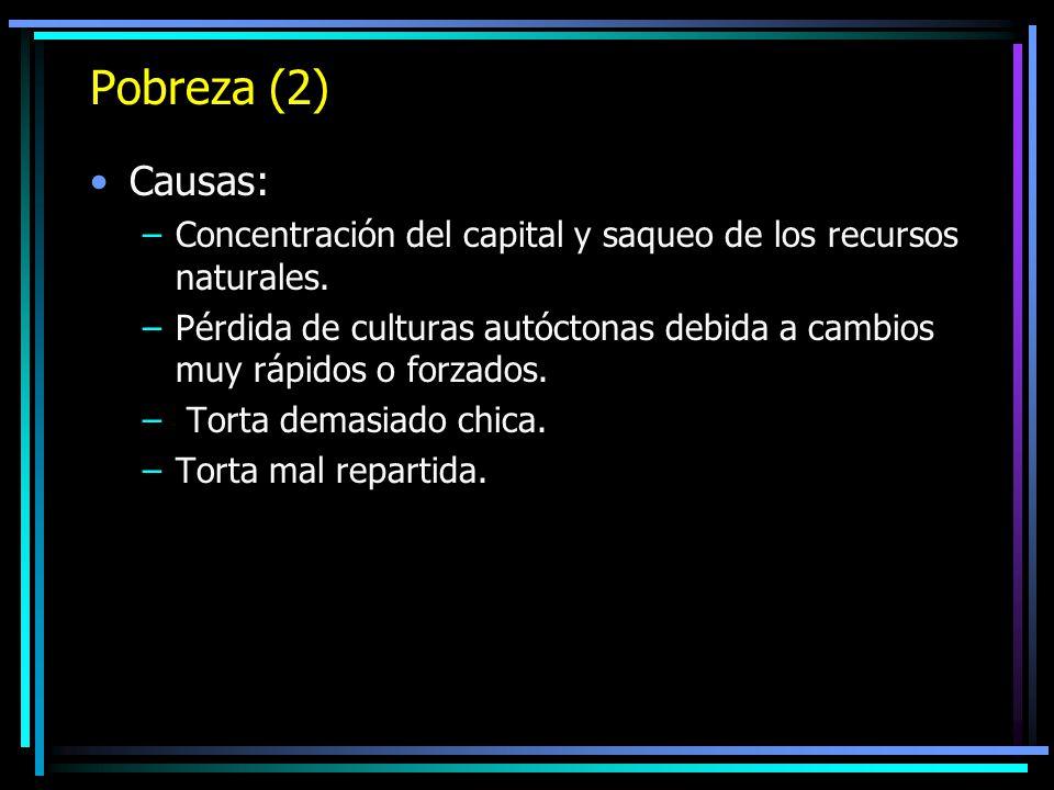 Pobreza (2) Causas: Concentración del capital y saqueo de los recursos naturales.