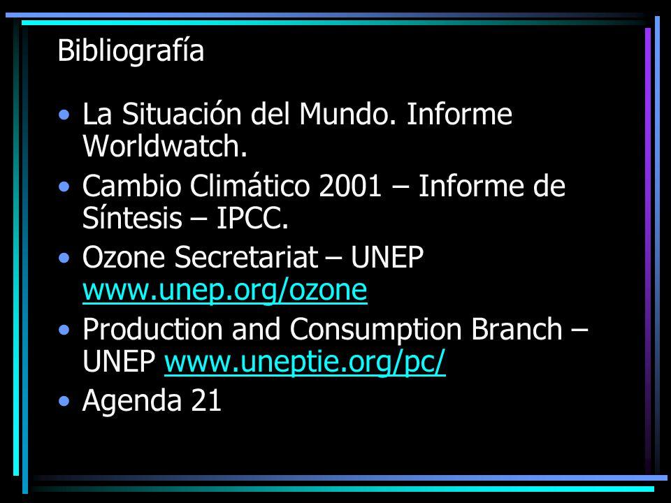 Bibliografía La Situación del Mundo. Informe Worldwatch. Cambio Climático 2001 – Informe de Síntesis – IPCC.