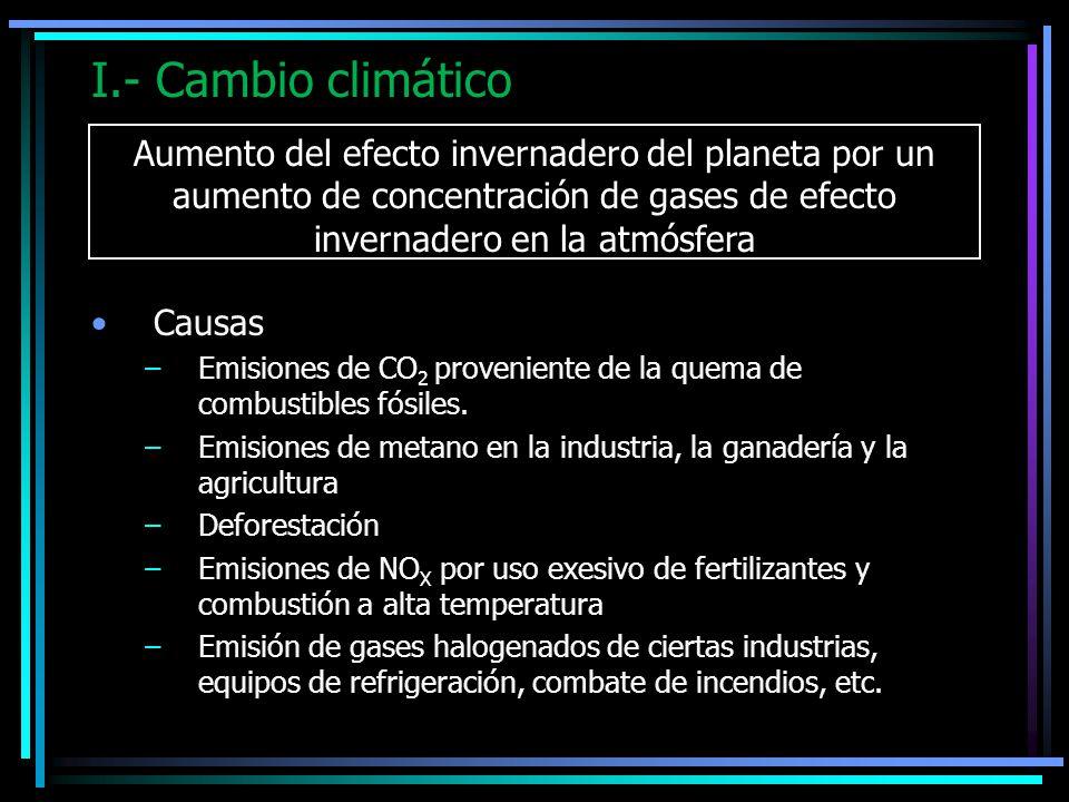 I.- Cambio climático Aumento del efecto invernadero del planeta por un aumento de concentración de gases de efecto invernadero en la atmósfera.