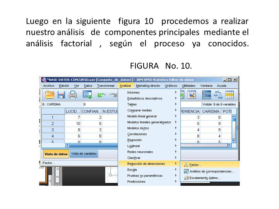 Luego en la siguiente figura 10 procedemos a realizar nuestro análisis de componentes principales mediante el análisis factorial , según el proceso ya conocidos.