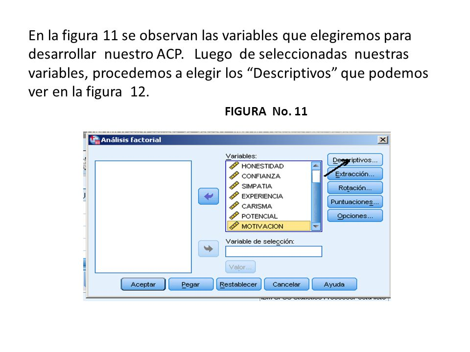 En la figura 11 se observan las variables que elegiremos para desarrollar nuestro ACP.