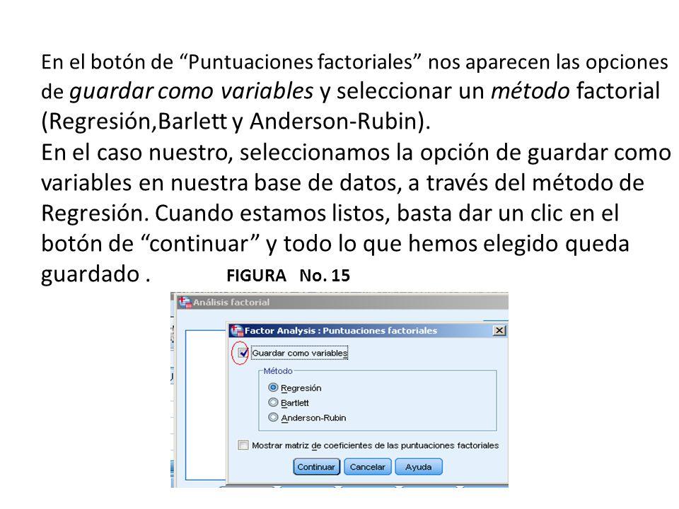 En el botón de Puntuaciones factoriales nos aparecen las opciones de guardar como variables y seleccionar un método factorial (Regresión,Barlett y Anderson-Rubin).