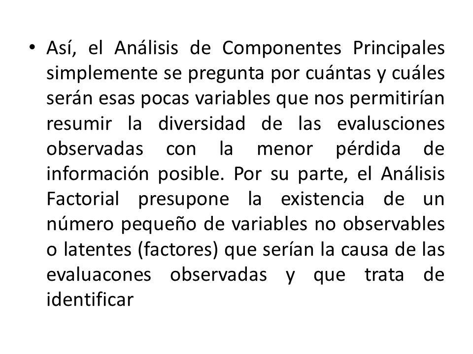 Así, el Análisis de Componentes Principales simplemente se pregunta por cuántas y cuáles serán esas pocas variables que nos permitirían resumir la diversidad de las evalusciones observadas con la menor pérdida de información posible.